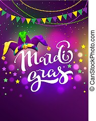 Banner for carnival mardi gras. Garland flag, handwritten...