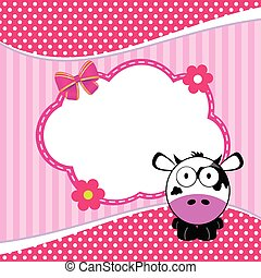 banner for children with cow animal illustration