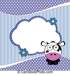 banner for children with cow animal in blue illustration