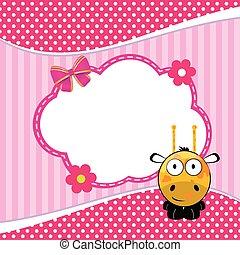 banner for children with giraffe animal illustration