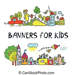 Banner for children with kids drawings style