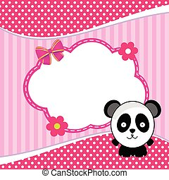 banner for children with panda animal illustration