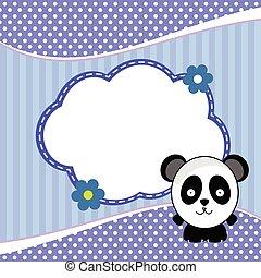 banner for children with panda animal in blue illustration