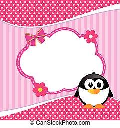 banner for children with penguin animal illustration