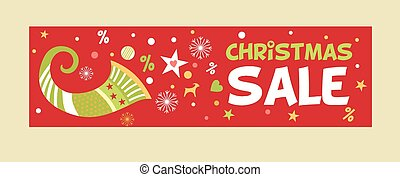 Banner for Christmas sale image with a cornucopia. New advertising discounts