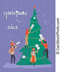 Banner for Christmas sale. People running after shopping,...