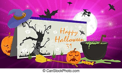 banner for holiday design on the theme of all saints eve Halloween, postcard pumpkin and witchs cauldron, flat vector illustration