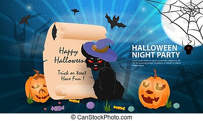 banner for holiday design on the theme of all saints eve Halloween, scroll with greetings, black cat in a witchs hat, flat vector illustration