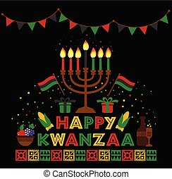 Banner for Kwanzaa with traditional colored and candles...