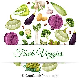 Banner for organic and natural vegetable food - Fresh...
