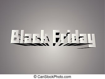 Banner for sale on Black Friday with text space. Word on white and grey background in paper cut style.