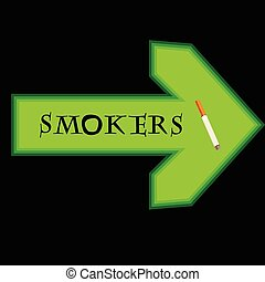 Green banner for smokers with arrow pointing right on black background