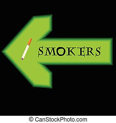 Green banner for smokers with arrow pointing left on black background