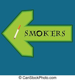 Green banner for smokers with arrow pointing right on blue background