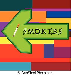 Green banner for smokers with arrow pointing left on retro background