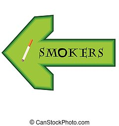 Green banner for smokers with arrow pointing right on white background
