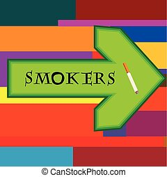 Green banner for smokers with arrow pointing right on retro background