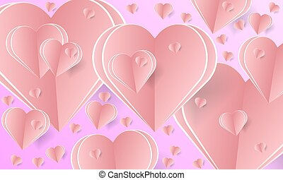 banner for st. Valentine with pink paper hearts - Banner for...