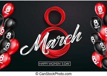 Banner for the International Women's Day. Black and red balloons with red March 8 on the dark, black background. Vector illustration
