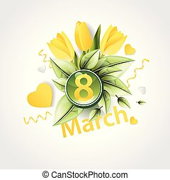 Banner for the International Women's Day. decor of yellow tulips, golden hearts, candy, boxes with gifts. Invitations in the yellow style with a pattern of spring leaves and flowers.eps