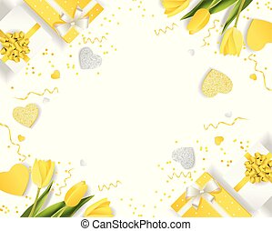 Banner for the International Women's Day. decor of yellow tulips, golden hearts, candy, boxes with gifts. Invitations in the yellow style with a pattern of spring flowers.eps