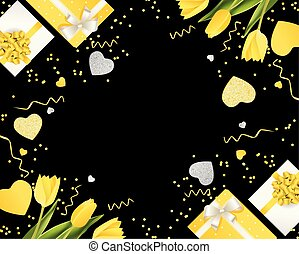 Banner for the International Women's Day. March 8 with the decor of flowers and presents. Invitations with the number 8 in the black yellow style with a pattern of spring flowers .eps