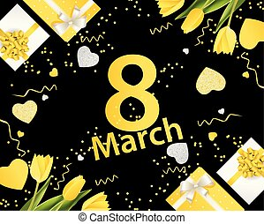 Banner for the International Women's Day. March 8 with the decor of flowers and presents. Invitations with the number 8 in the black yellow style with a pattern of spring flowers.eps