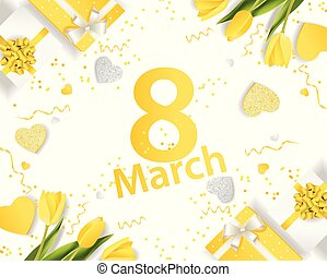 Banner for the International Women's Day. March 8 with the decor of flowers and presents. Invitations with the number 8 in the yellow style with a pattern of spring flowers.eps