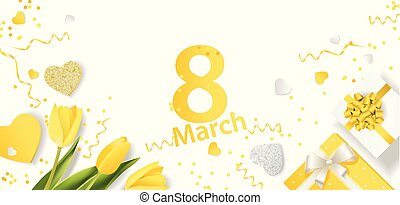 Banner for the International Women's Day. March 8 with the decor of Yellow flowers and presents. Invitations with the number 8 in the yellow style.eps