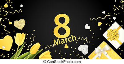 Banner for the International Women's Day. March 8 with the decor of Yellow flowers and presents on a black background. Invitations with the number 8 in the yellow style.eps