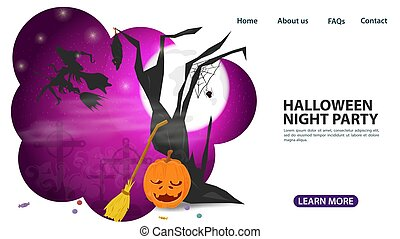 banner for web page design and mobile applications, on the theme of all saints eve Halloween, witch in the sky, flat vector illustration