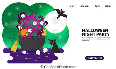 banner for web page design and mobile applications, on the theme of all saints eve Halloween, witchs cauldron with potions and skulls, flat vector illustration