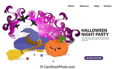 banner for web page design and mobile applications, on the theme of all saints eve Halloween, wizards hat witchs broom and Jack pumpkin, flat vector illustration