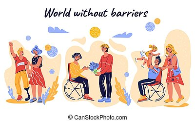 Banner for World Disability Day with disabled people in wheelchairs.