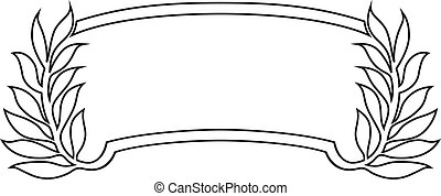 banner frame with laurel, black isolated