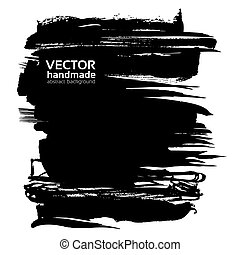 Banner from abstract black thick smear of paint isolated on a white background
