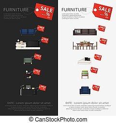 Banner Furniture Sale Advertisement Flayers Vector Illustration