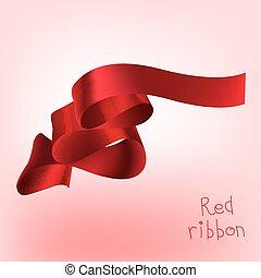 banner, geschenkband, rotes