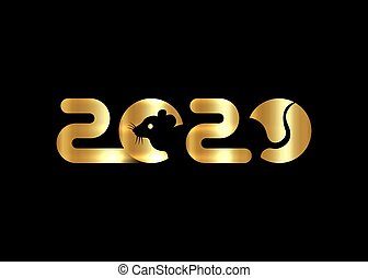 Banner gold Logo 2020 happy chinese new year, the year of the rat. Vector isolated on black background
