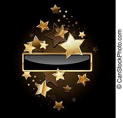 banner, gold, sternen, rechteckig