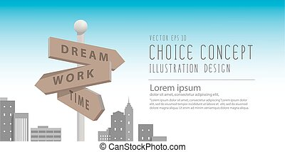 Banner guidepost in the big city with buildings metaphor of decision. make something about dream and work vector.