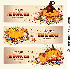 banner, halloween, retro