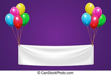 Banner hanging on colorful balloons for happy birthday party. Event celebration invitation or greeting card