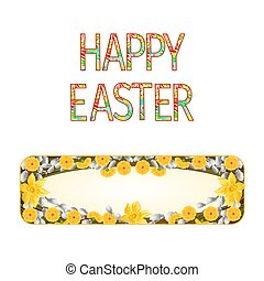 Banner Happy easter daffodil with pussy willow vector.eps