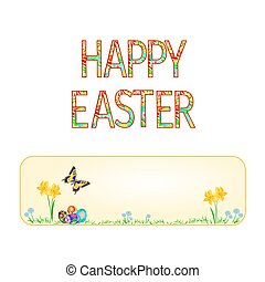 Banner Happy easter spring flowers daffodil with butterfly and Easter eggs vector