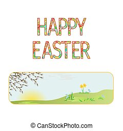Banner Happy easter spring meadow with  pussy willow vintage vector.eps