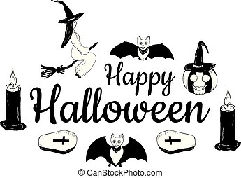 """Banner """"Happy Halloween"""". A witch on a broomstick, a pumpkin in a witch's cap, candles, coffins, bats around the inscription on a white background. Drawing by hand. Vector."""