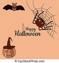 """Banner """"Happy Halloween"""". Pumpkin in witchs cap, bat, spider on the web. In the center of the banner is the inscription with a candle. Beige background. Brown tones. Drawing by hand. Vector."""