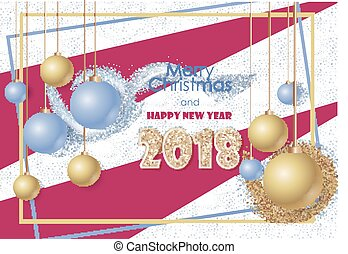Banner Happy New Year and Merry Christmas. Original gretting card for holydays. 2018 year.