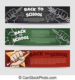 banner, horizontal, schule, zurück